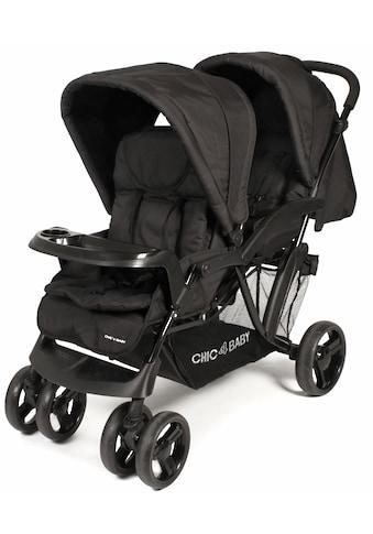 CHIC4BABY Geschwisterwagen »Doppio, schwarz«, mit Regenschutz; Kinderwagen,... kaufen
