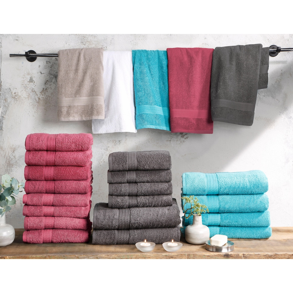 my home Handtuch Set »Juna«, mit feiner Strukturbordüre