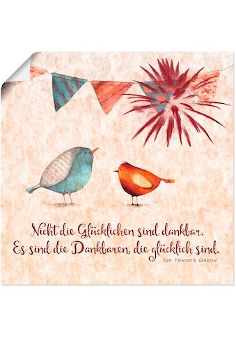 Artland Wandbild »Lebensweisheit Glücklich«, Tiere, (1 St.), in vielen Grössen &... kaufen