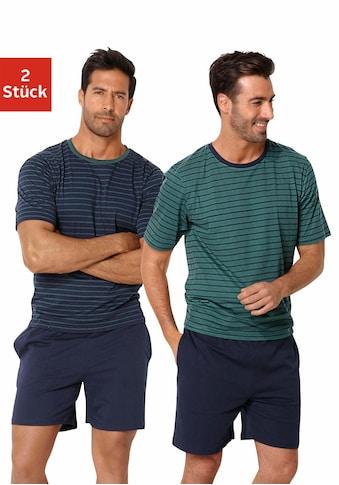 le jogger® Pyjama, (2 tlg., 2 Stück), kurz im Streifendesign kaufen