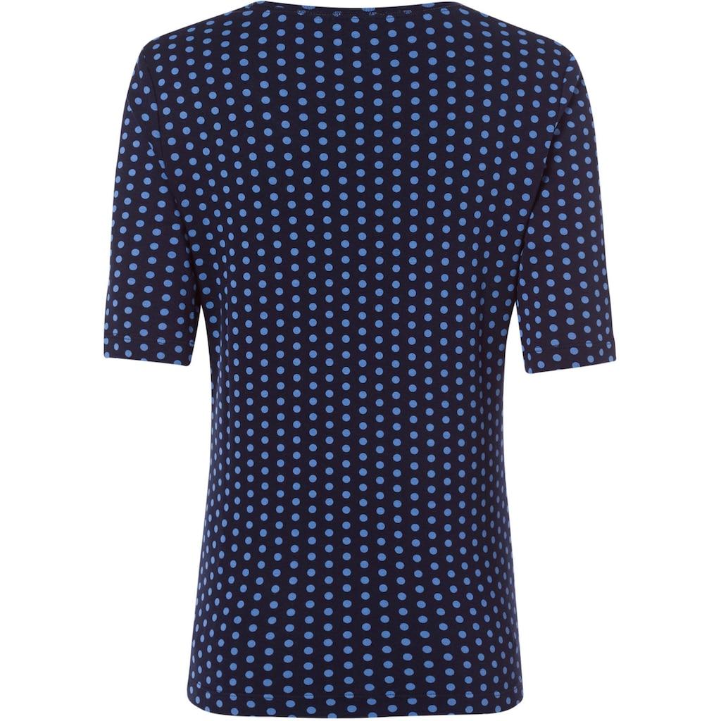 Olsen Rundhalsshirt, mit gepunktetem Allover-Druck aus organic cotton