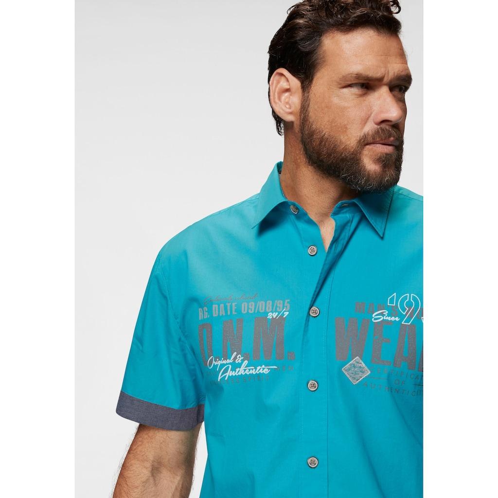 Man's World Kurzarmhemd, mit Chambray-Einsätzen