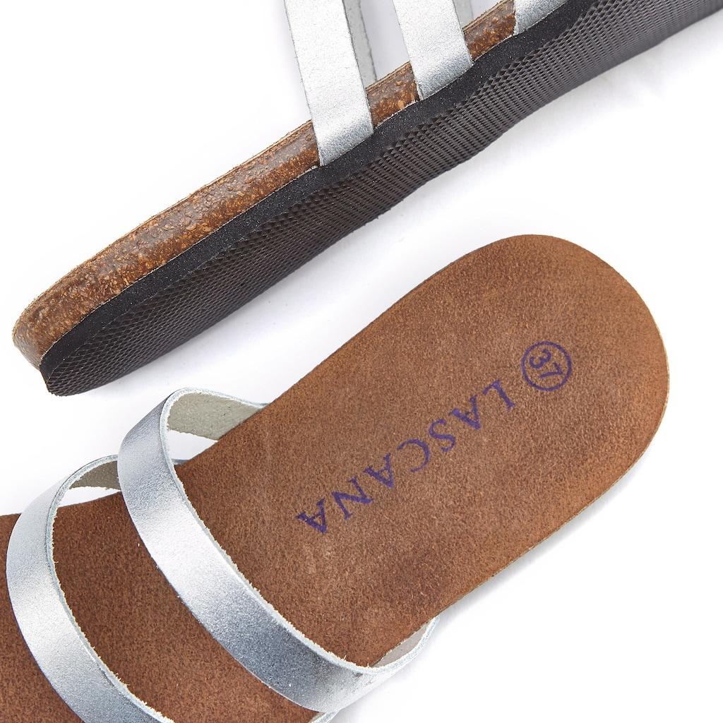 LASCANA Zehentrenner, aus Leder im Metallic-Look