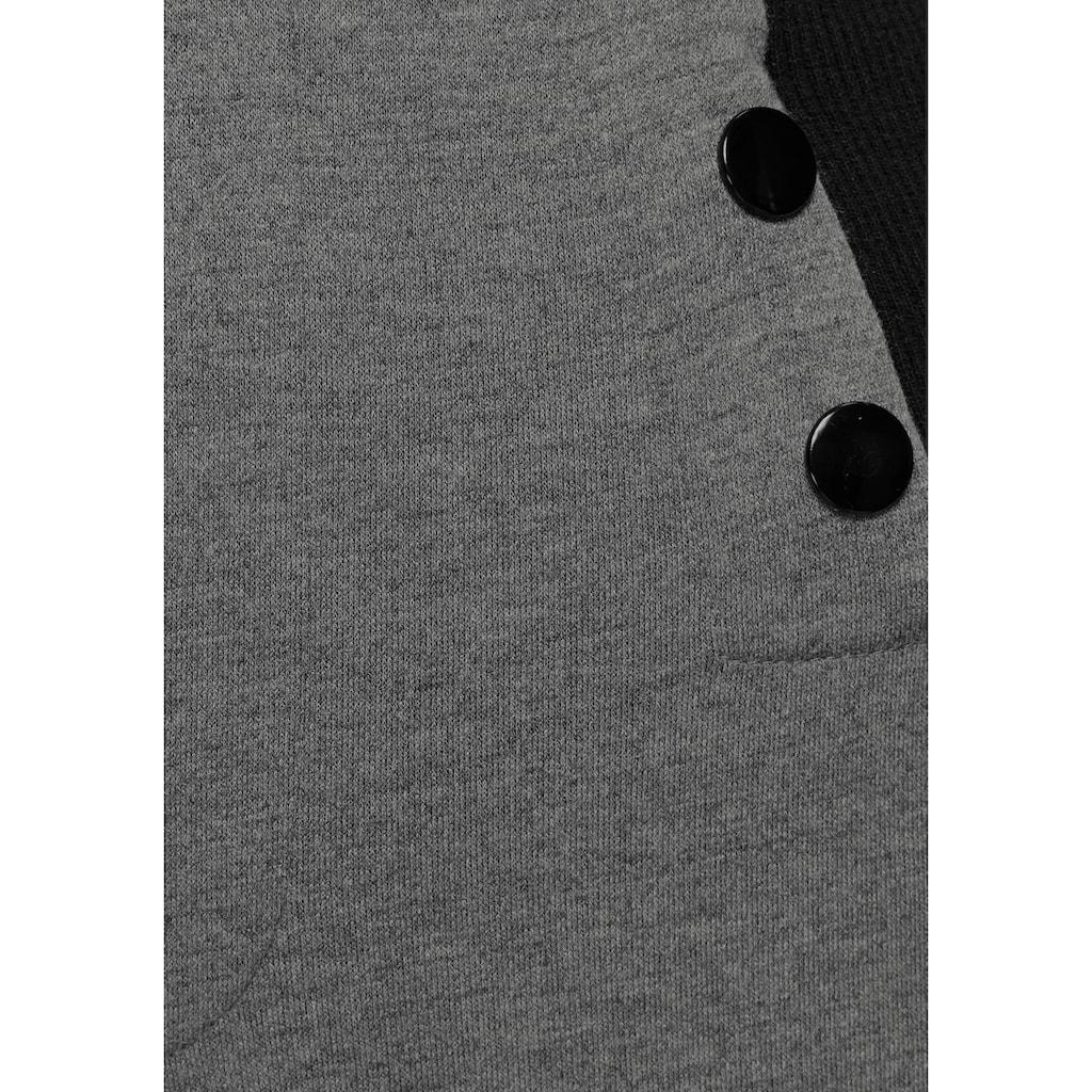 AJC Röhrenhose, mit breitem Rippbund und Fakebutton-Detail