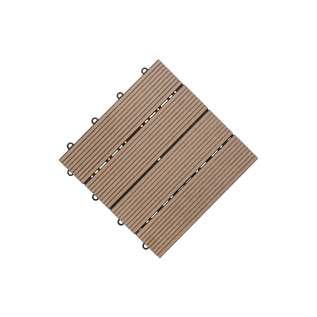 florco® Terrassenplatten »WPC braun 30 x 30, 6 Stk.«