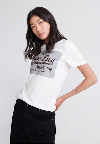 Superdry T-Shirt »VL REFLECTIVE BOX ENTRY TEE«, mit Logo im Animalprint kaufen