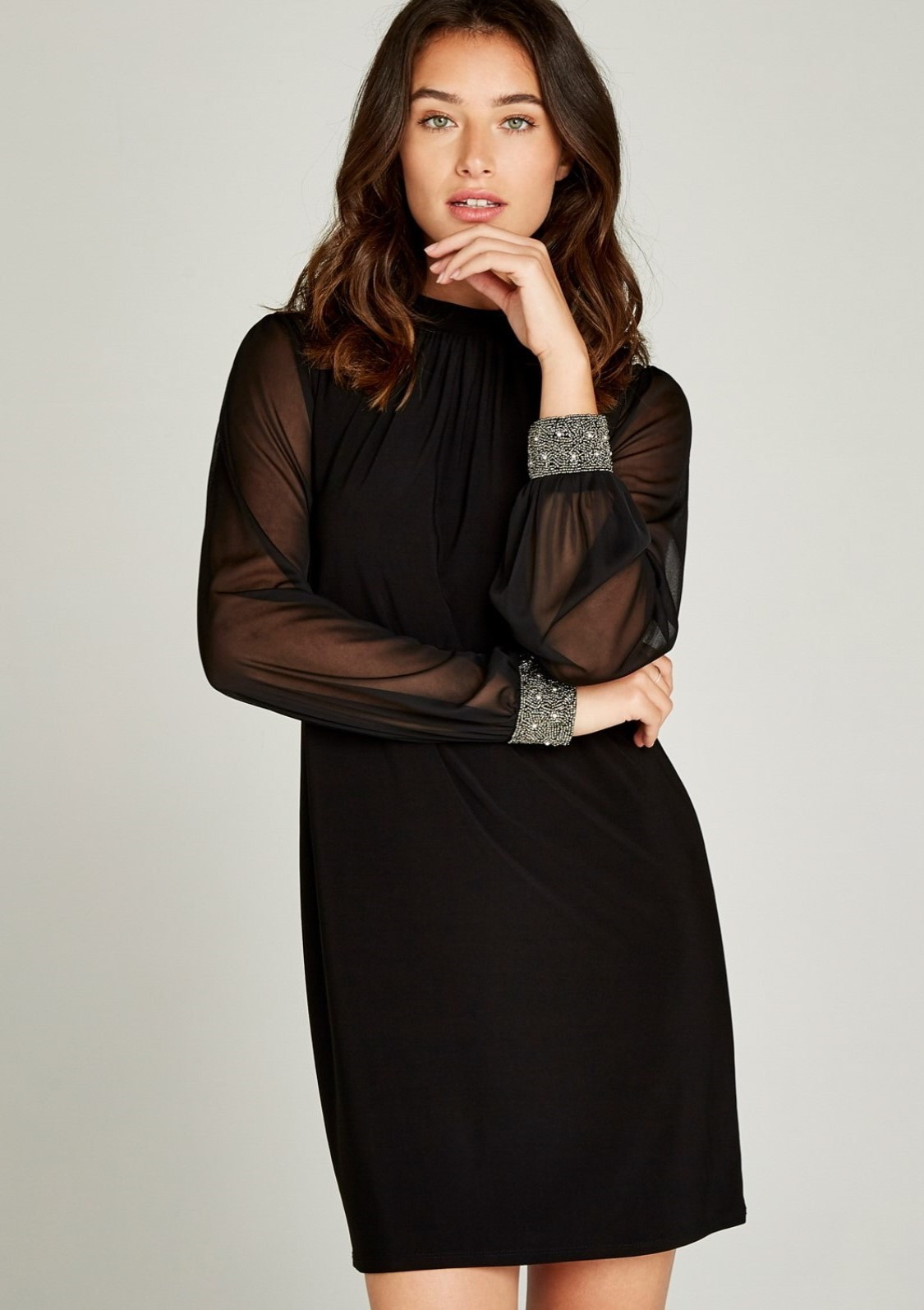 Image of Apricot Partykleid »Sheer Sleeve Bead Cuff Dress«