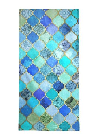 Juniqe Handtuch »Cobalt Moroccan Tile Pattern«, (1 St.), Weiche Frottee-Veloursqualität kaufen
