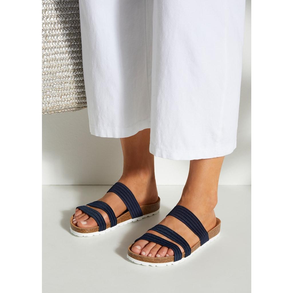 LASCANA Pantolette, mit Korkfussbett und elastischen Riemen
