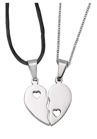 Firetti Schmuckset »Partnerschmuck: 2 Halsketten mit Anhänger Herz« kaufen