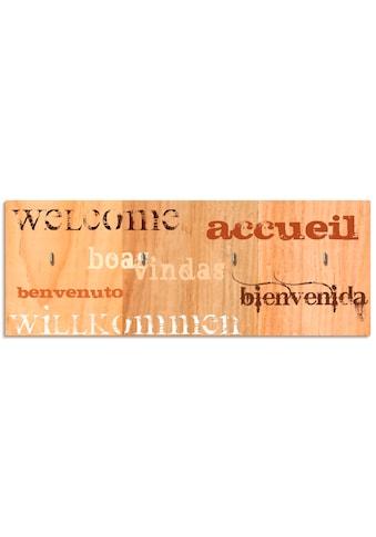 Artland Schlüsselbrett »Willkommen«, aus Holz mit 4 Schlüsselhaken – Schlüsselboard,... kaufen