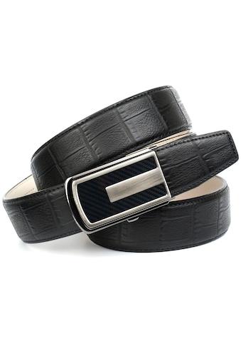 Anthoni Crown Ledergürtel, in Kroko-Design mit Karbon-Schliesse kaufen