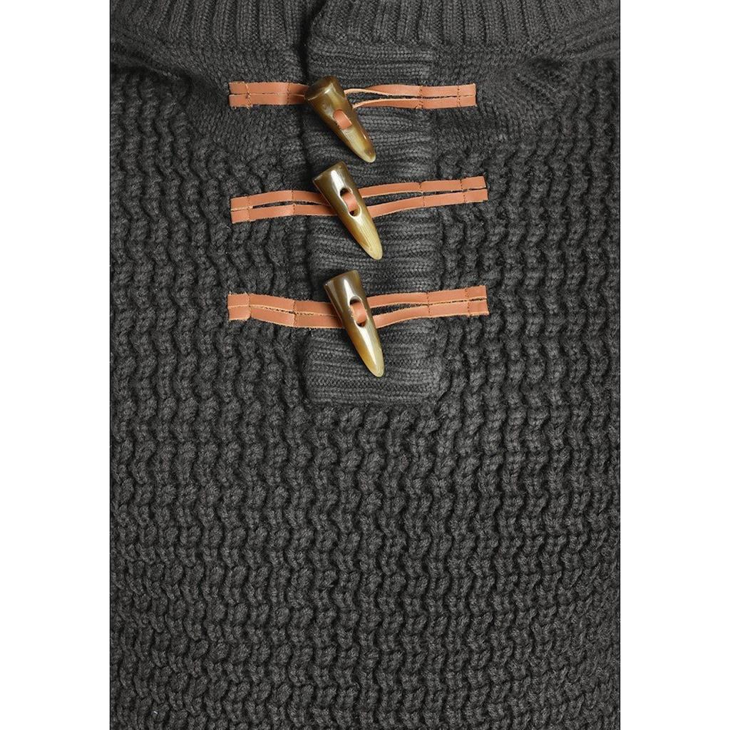 REDEFINED REBEL Strickpullover »Mason«, Kapuzenpullover mit Duffleknöpfen am Kragen