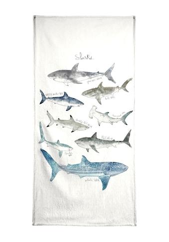 Juniqe Strandtuch »Sharks«, (1 St.), Weiche Frottee-Veloursqualität kaufen