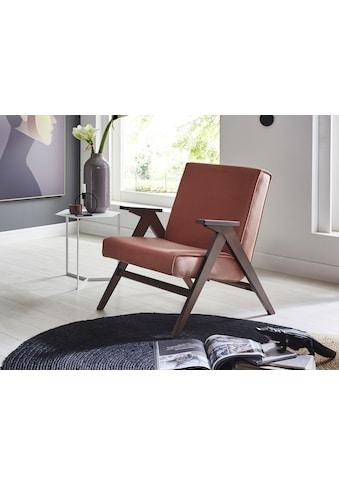 ATLANTIC home collection Loungesessel, Retro -Sessel in Samtvelours, Walnuss-Furnier kaufen