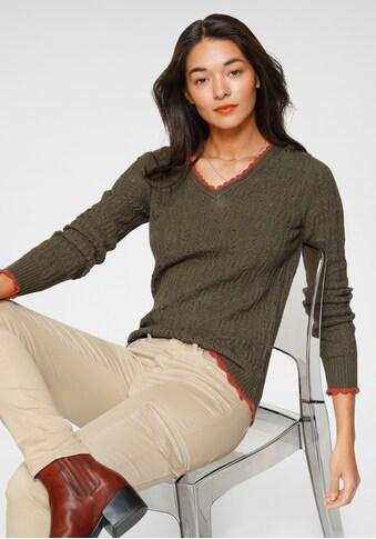 AJC V-Ausschnitt-Pullover, mit modischen Ajour-Details kaufen