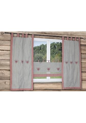HOSSNER - ART OF HOME DECO Querbehang »HERZSEE«, bestickter Querbehang mit Karo-Saum kaufen