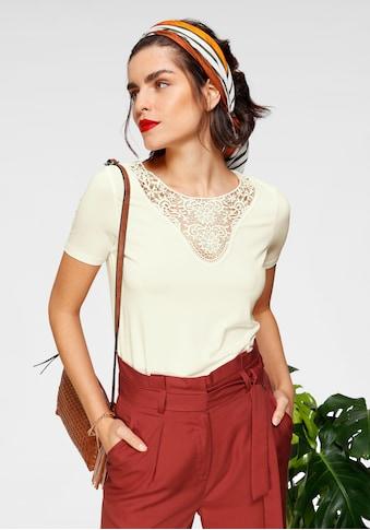 Tamaris Rundhalsshirt, mit Spitzenausschnitt kaufen