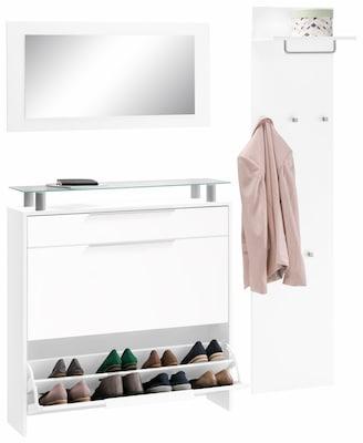 Schuhschrank mit Spiegel und Garderobenpaneel