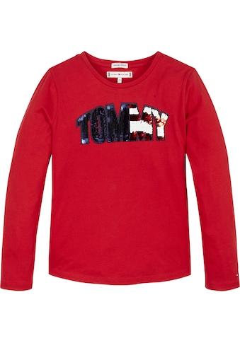 TOMMY HILFIGER Langarmshirt, Pailletten Tommy Logo kaufen