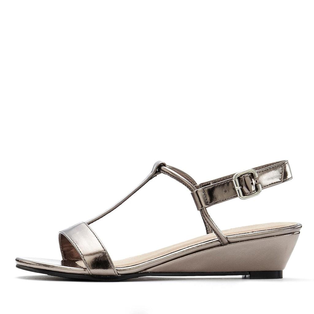 LASCANA Sandalette, mit Keilabsatz und Metallic-Optik