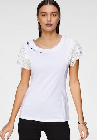 AJC T-Shirt, mit Volant-Einsatz aus Spitze & Stickerei am Halsausschnitt kaufen