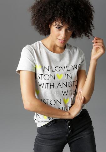 Aniston CASUAL T-Shirt, mit Glitzerschriftzug und neonfarbenen Herzen kaufen