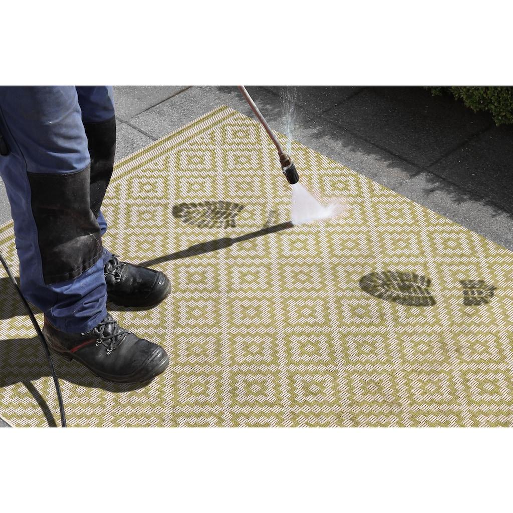 bougari Läufer »Raute«, rechteckig, 8 mm Höhe, Flachgewebe, In- und Outdoor geeignet, Rauten-Design, Für Terasse und Balkon, Flur und Diele