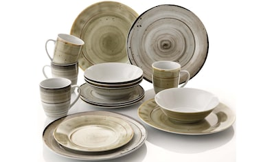 Home affaire Kombiservice »Young«, (Set, 16 tlg.), Geschirr-Set in handwerklicher Look mit Sprenkeln kaufen