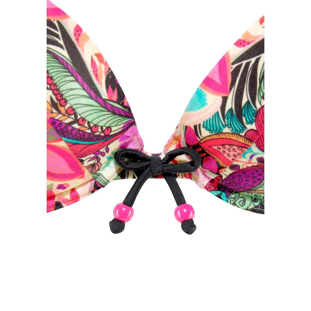 Buffalo Push-Up-Bikini, mit floralem Design und Zierperlen