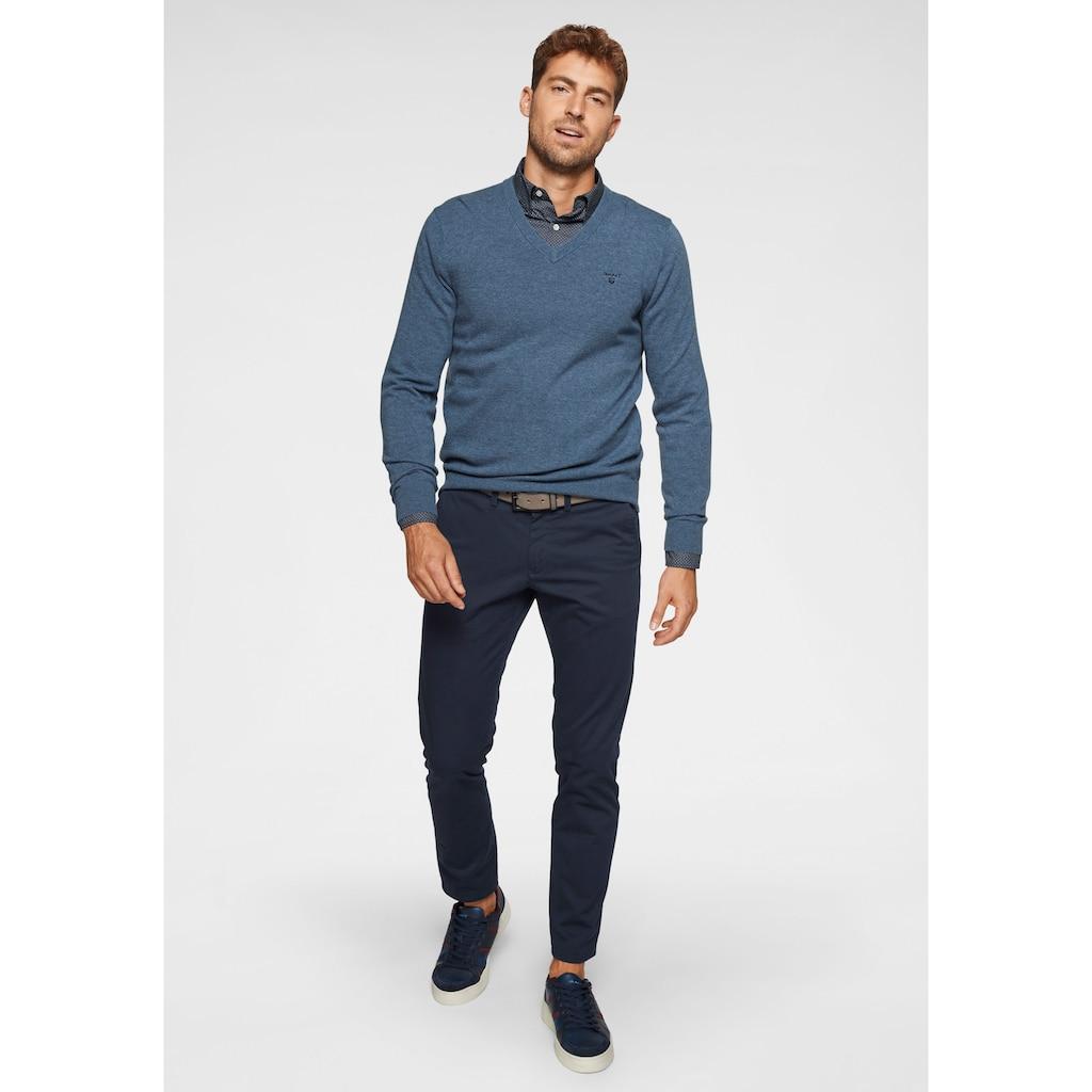 Gant V-Ausschnitt-Pullover, aus reiner Lammwolle