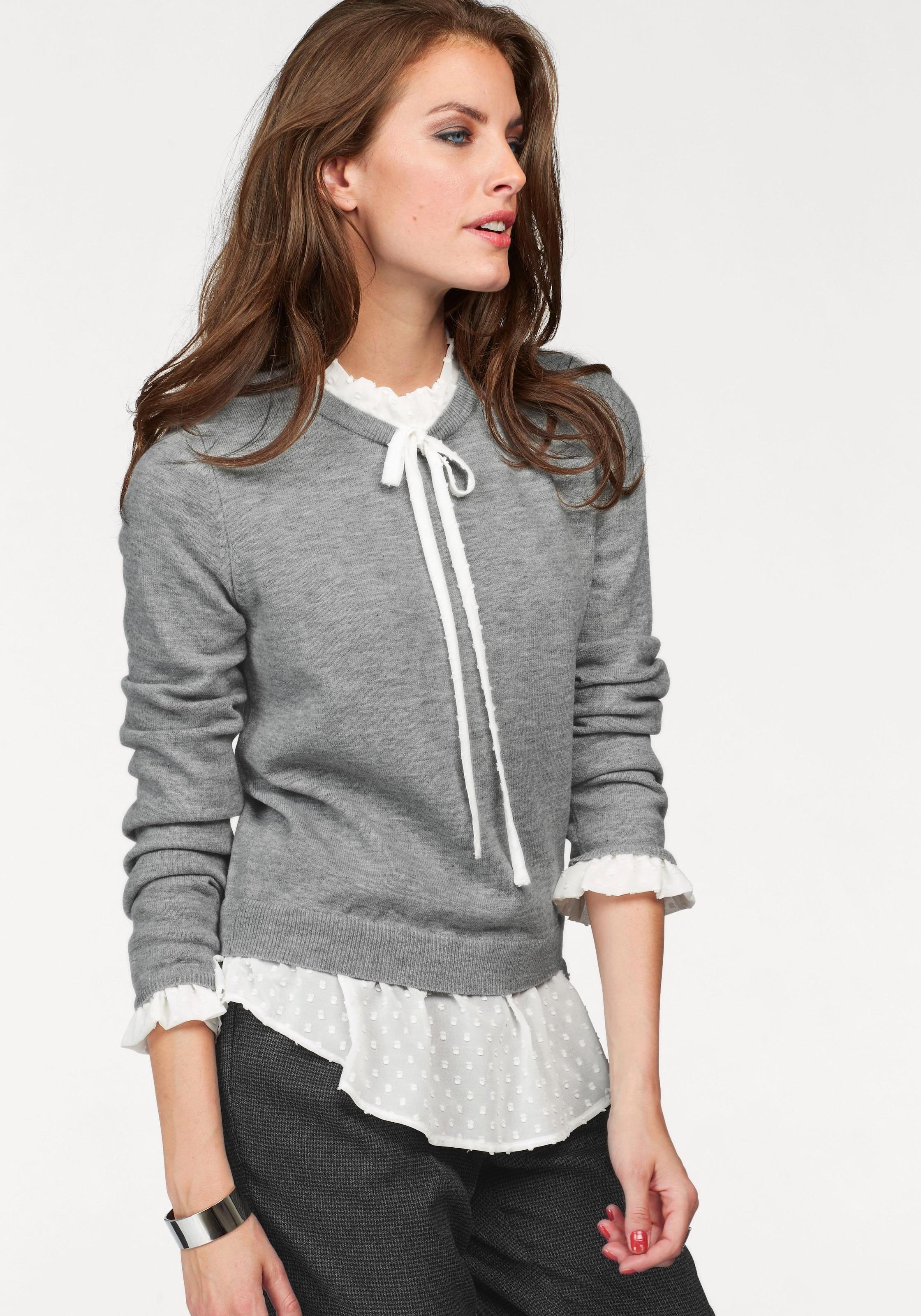 Image of Aniston CASUAL 2-in-1-Pullover, mit Blusen-Einsatz