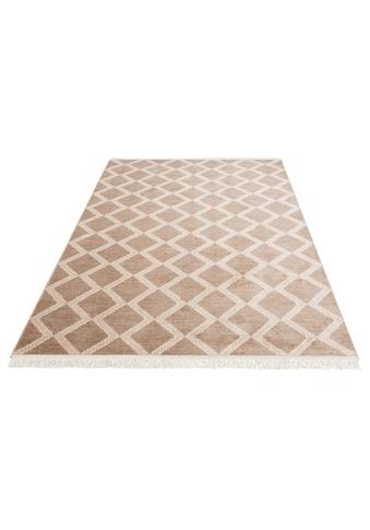 Home affaire Teppich »Sana«, rechteckig, 8 mm Höhe, mit Fransen, Wohnzimmer kaufen