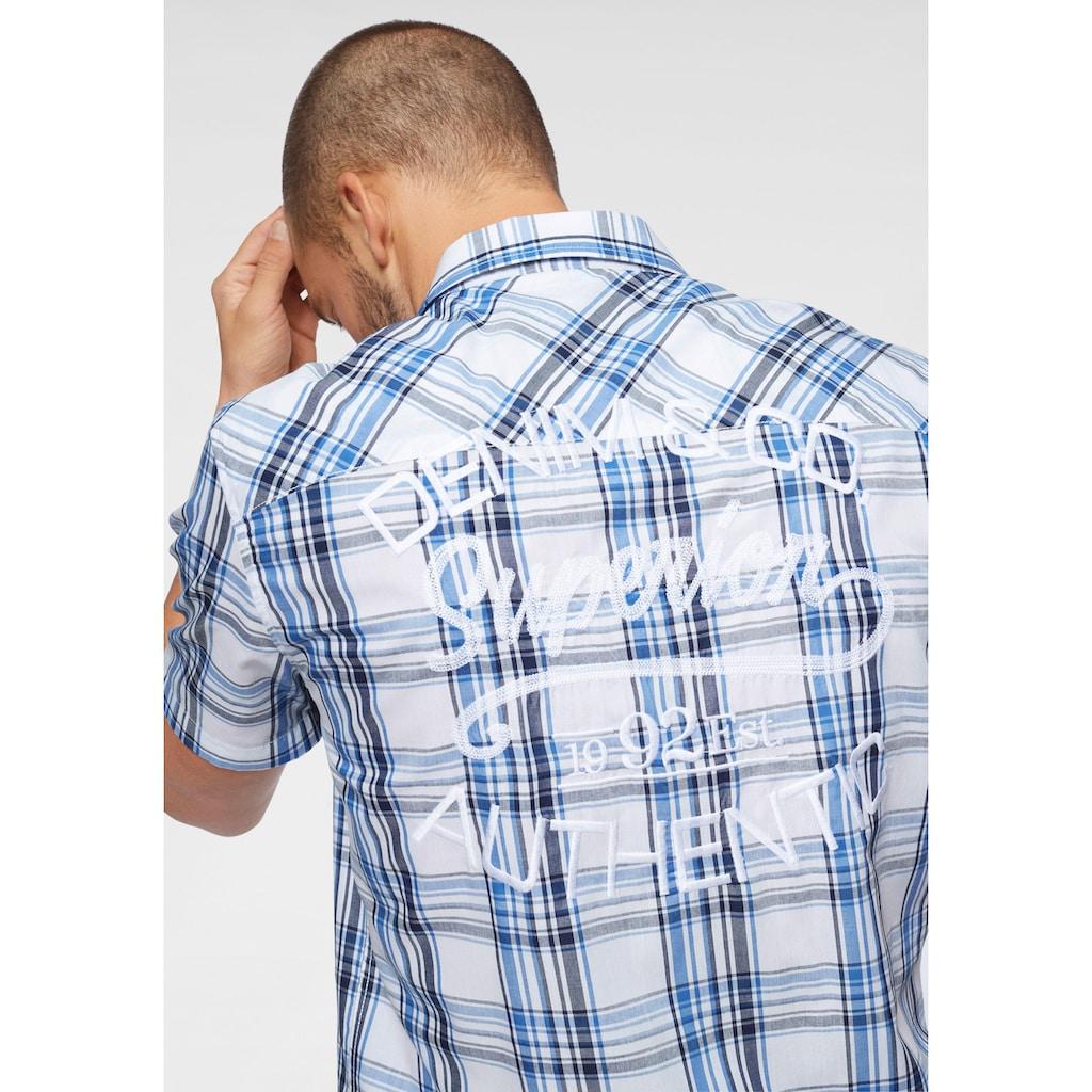 John Devin Kurzarmhemd, mit Stickerei auf dem Rücken