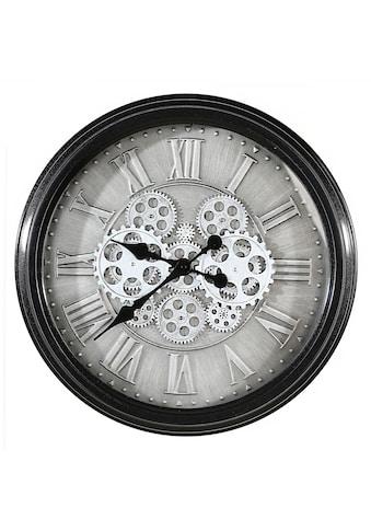 Casablanca by Gilde Wanduhr »Factona, antik silberfarben/schwarz«, rund, Ø 53 cm, aus Metall, römische Ziffern, Wohnzimmer kaufen