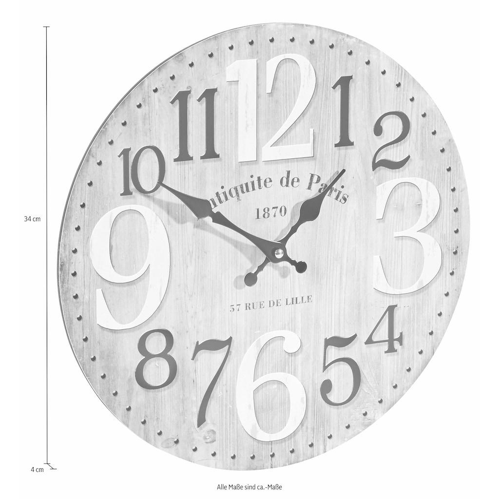 Home affaire Wanduhr »PARIS«, rund, Ø 33,8 cm