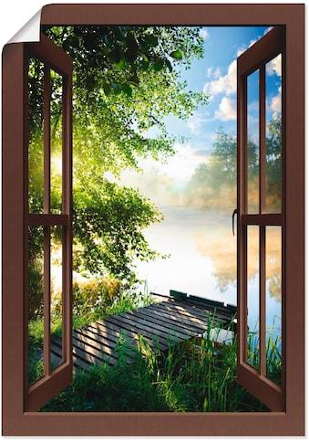 Artland Wandbild »Fensterblick Angelsteg am Fluss«, Fensterblick, (1 St.), in vielen... kaufen