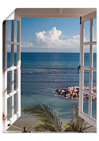 Artland Wandbild »Fenster zum Paradies«, Fensterblick, (1 St.), in vielen Grössen & Produktarten - Alubild / Outdoorbild für den Aussenbereich, Leinwandbild, Poster, Wandaufkleber / Wandtattoo auch für Badezimmer geeignet kaufen
