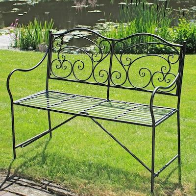 Metall - Gartenbank mit romantischen Verschnörkelungen