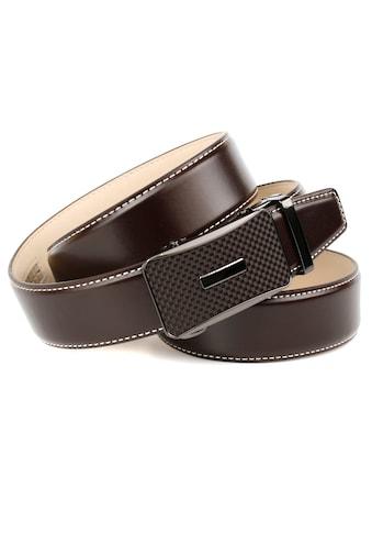 Anthoni Crown Ledergürtel, mit Karbon-Schliesse und Kontrast-Stitching kaufen