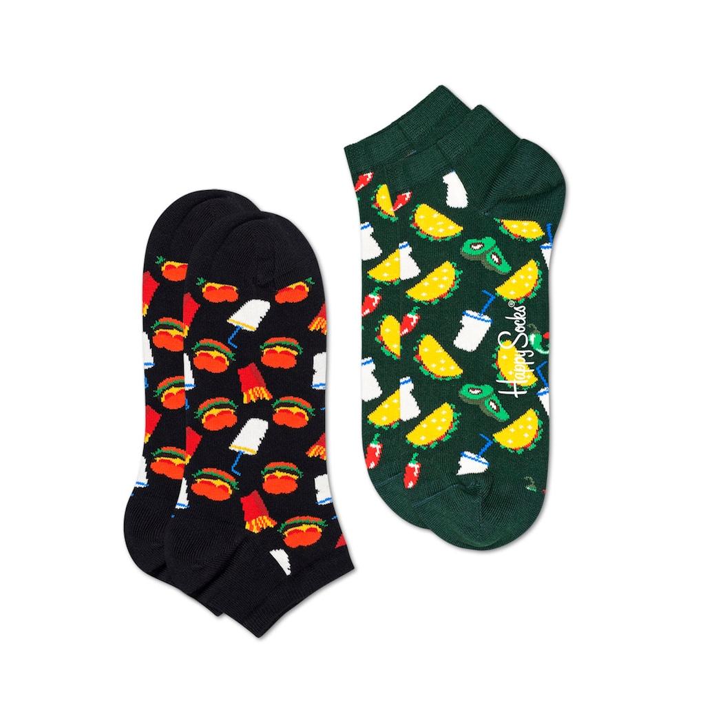 Happy Socks Sneakersocken »Hamburger Low«, (2 Paar), mit Hamburger und Früchte Muster