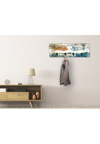 Artland Garderobenpaneel »Retro Verzierungen in blau und orange«, platzsparende... kaufen
