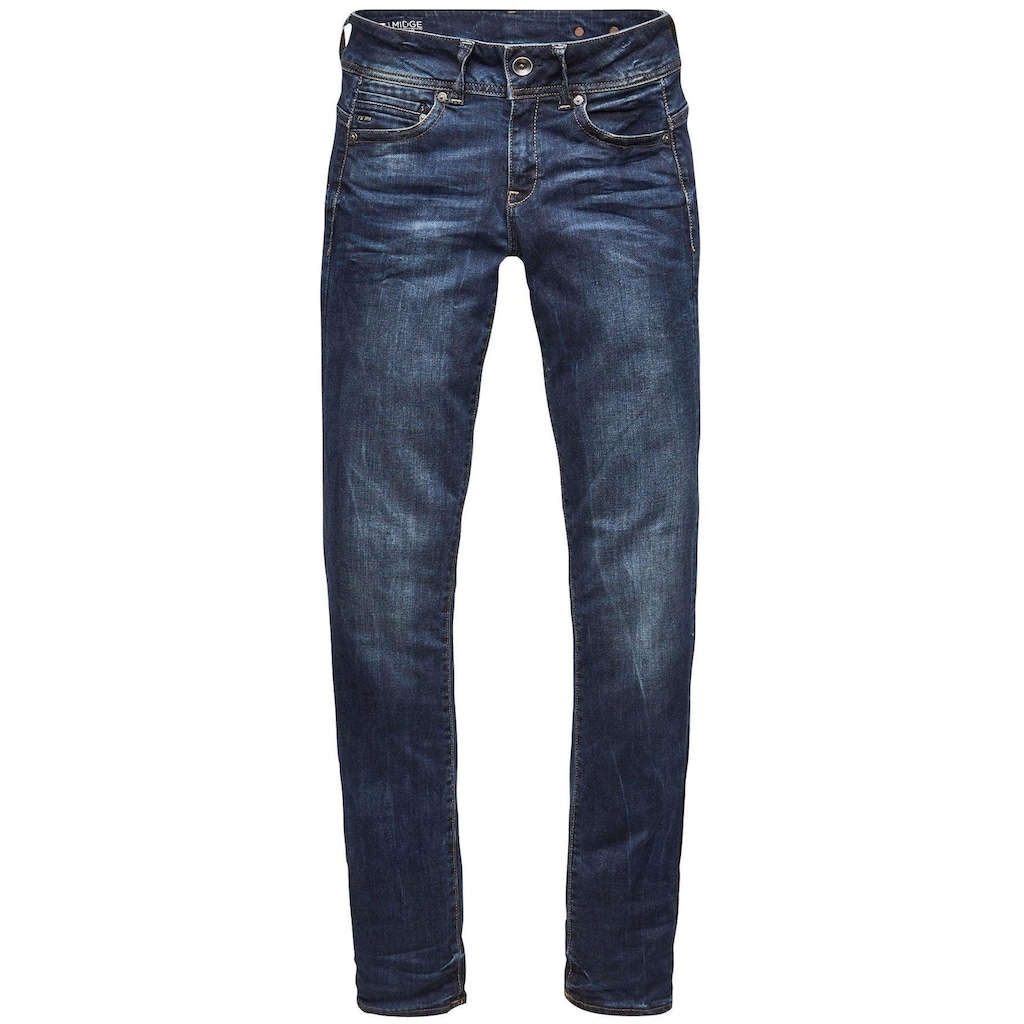 G-Star RAW Slim-fit-Jeans »Midge Mid Straight Wmn«, mit Used-Effekten