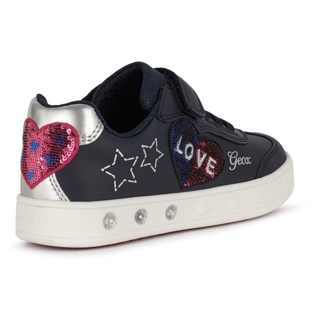 Geox Kids Sneaker »Blinkschuh SKYLIN GIRL«, mit süsser Herz-Applikation
