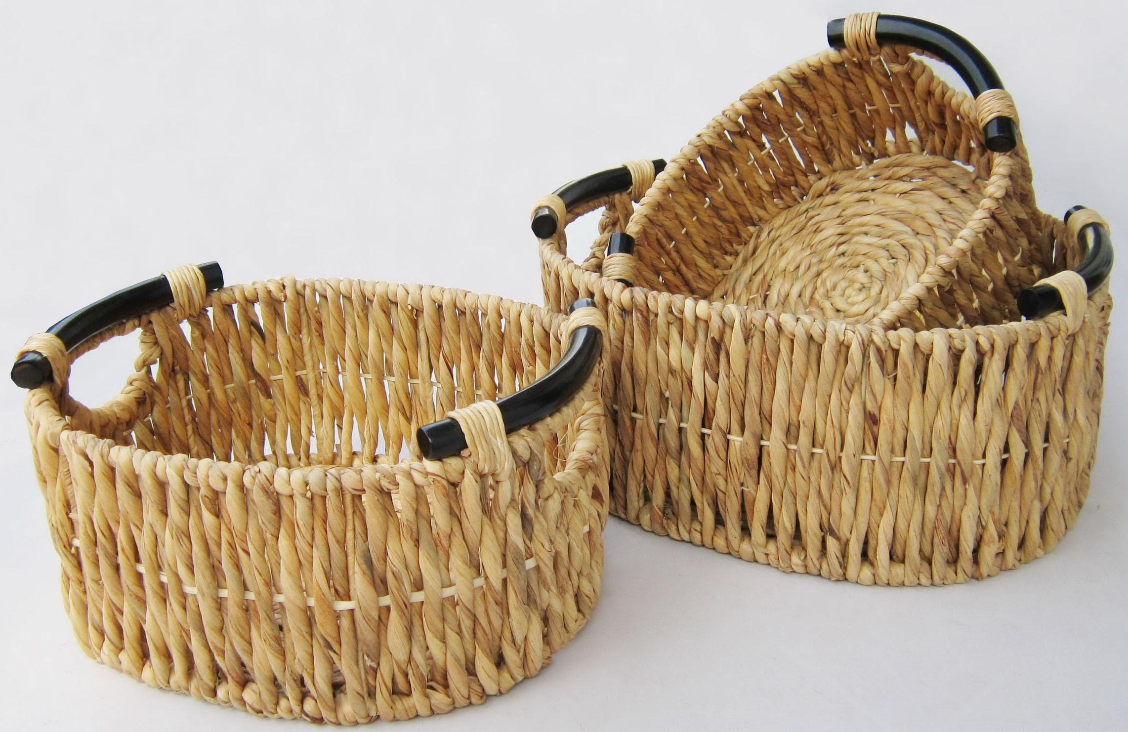 Image of ARTRA Aufbewahrungskorb »3er Set Aufbewahrungskörbe KEA aus Wasserhyazinthe mit Holzgriff natur«