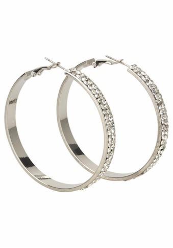 J.Jayz Paar Creolen »breitere Form im glamourösen Design, silberfarben«, mit Glassteinen kaufen