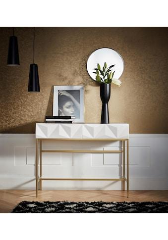 Leonique Sideboard »Minfi«, in 3D-Optik, Konsolentisch mit goldfarbenem Metallgestell, Schminktisch kaufen