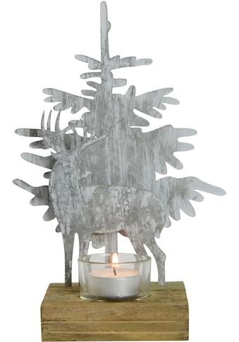 Teelichthalter »Hirsch an Baum«, Höhe ca. 24 cm kaufen