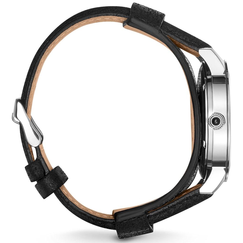 THOMAS SABO Quarzuhr »Rebel Tiger 3D schwarz-silber, WA0367-203-201-42 mm«, (Set, 2 tlg., mit abnehmbarem Lederband)