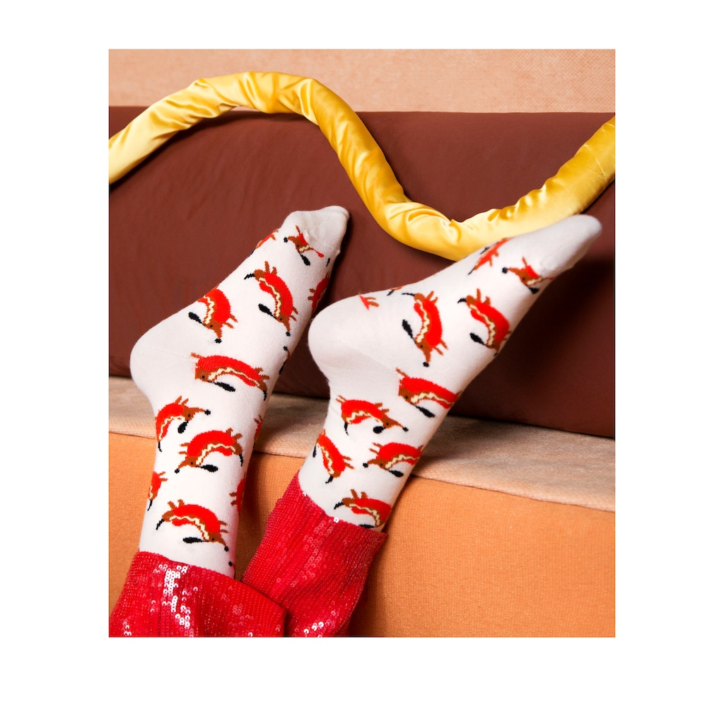 Happy Socks Socken »Hot Dog Dog«, mit lustigen Hund im Hotdog Motiven